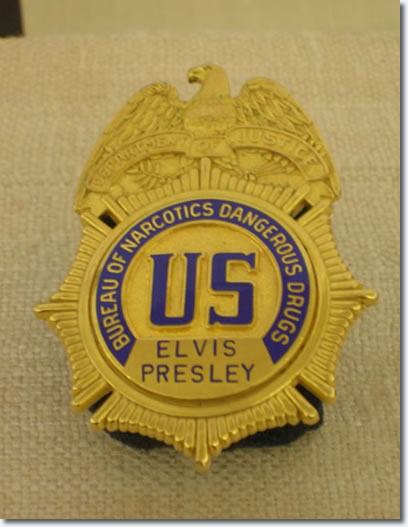 Elvis Presleys Bureau of Narcotic Dangerous Drugs Badge