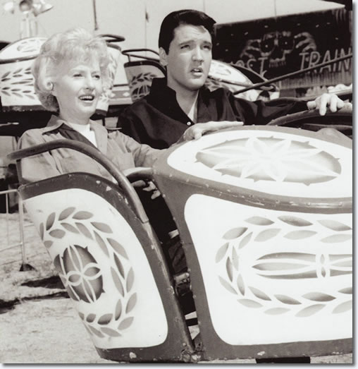Barbara Stanwyck and Elvis Presley on the set of Roustabout - From the book Inside Roustabout