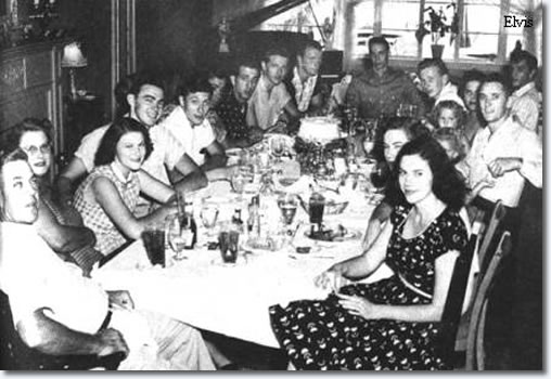 Brown family get-together that included Jim Ed (fourth from left) and Elvis (top right)