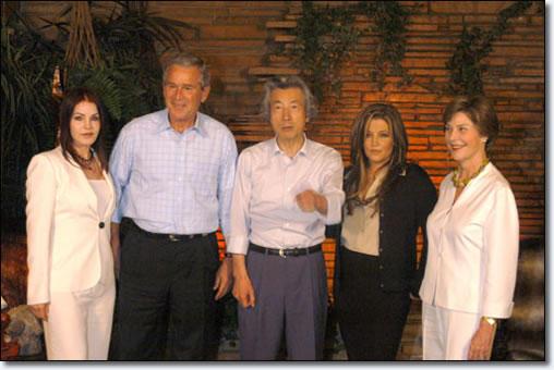 Priscilla Presley, George Bush, Junichiro Koizumi, Lisa Marie Presley and Laura Bush