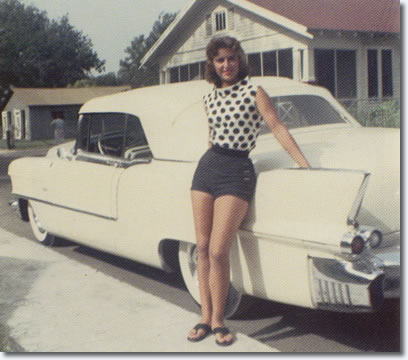 June Juanico with Elvis Presleys 1956 Cadillac Eldorado