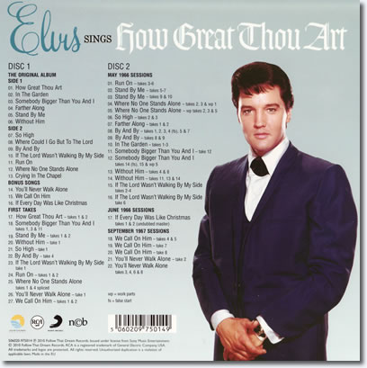 How Great Thou Art - FTD Special Edition 2 CD Set : The back cover