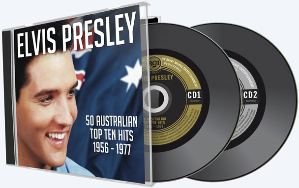 Cover and CD label art for Elvis Presley: 50 Australian Top Ten Hits 1956-1977