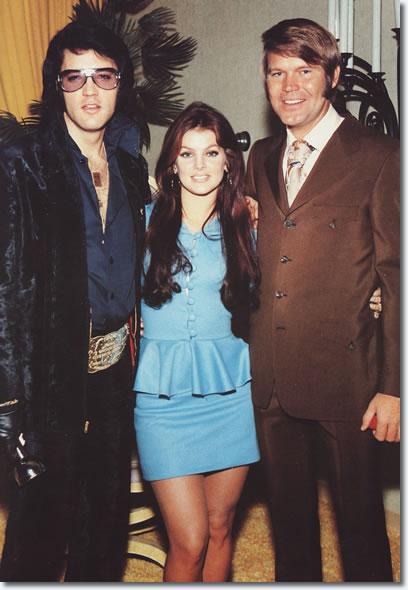 Priscilla and Elvis Presley with Glen Campbell - George Klein's Wedding - December 5, 1970