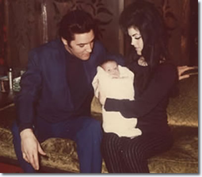 Elvis and Priscilla Presley at home with baby Lisa Marie for the first time