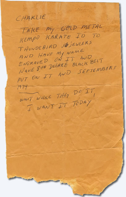 note to Charlie Hodge from Elvis Presley