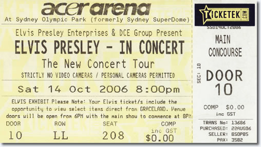 Ticket - Elvis Presley In Concert - Sydney Australia 2006