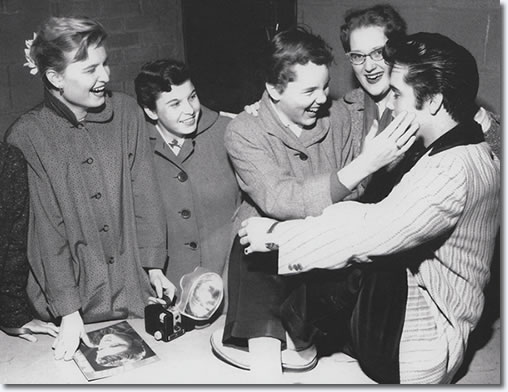 Elvis with fans, Ottawa Press Conference, Canada, April 3, 1957