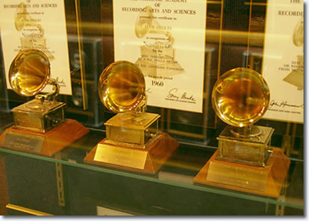 Elvis Presley's three Grammy Awards on display at Graceland