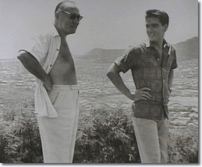 Hal Wallis and Elvis Presley during filing of- Blue Hawaii