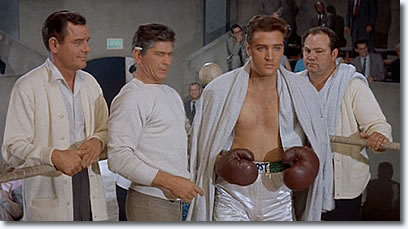 Gig Young, Charles Bronson and Elvis Presley in 'Kid Galahad'.
