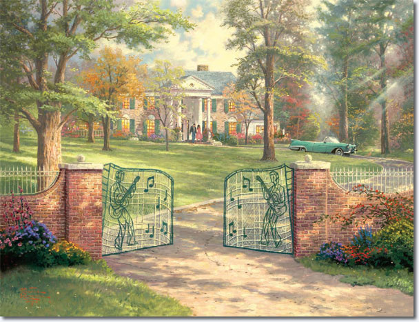 "Thomas Kinkade's oil painting ""Graceland, 50th Anniversary"" takes artistic license, shrinking the lawn a bit, to focus attention on the home. Kinkade said the color of the car in the driveway suits the painting but doesn't represent one Presley owned."