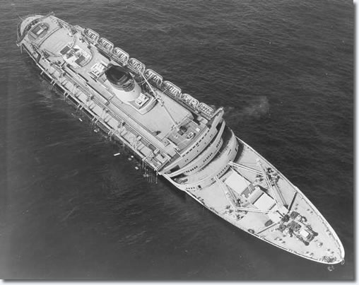 SS Andrea Doria awaiting her impending fate the morning after the collision in the Atlantic Ocean