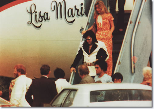 June 29, 1976 - Elvis and Linda Thompson havs just arrived in Richmond