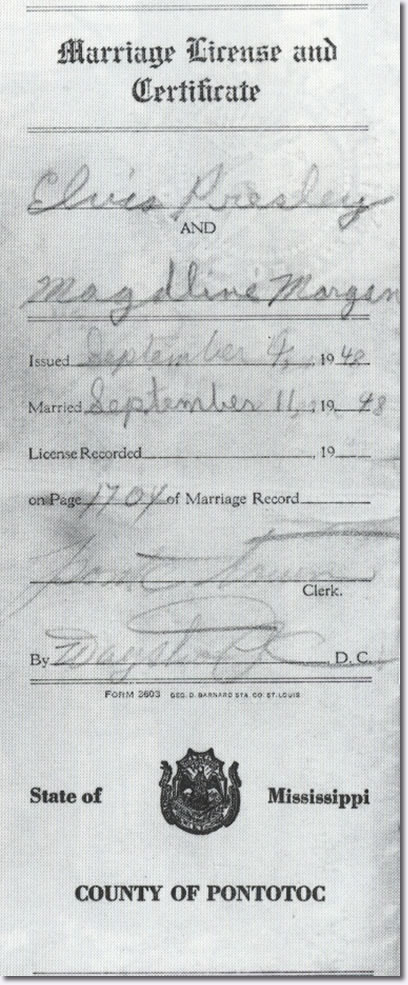 Elvis Presley and Magdalene Morgan 'Marriage Licence'