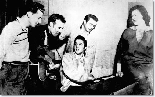 Jerry Lee Lewis, Carl Perkins, Elvis Presley and Johnny Cash and Marilyn Evans - Dec 4, 1956