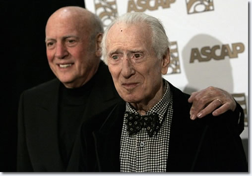 Mike Stoller (L) and Jerry Leiber arrive at the 25th Annual ASCAP Pop Music Awards at the Kodak theatre in Hollywood, California, April 9, 2008.