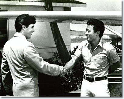 Elvis Presley and James Shigeta on the set of Paradise, Hawaiian Style -1966