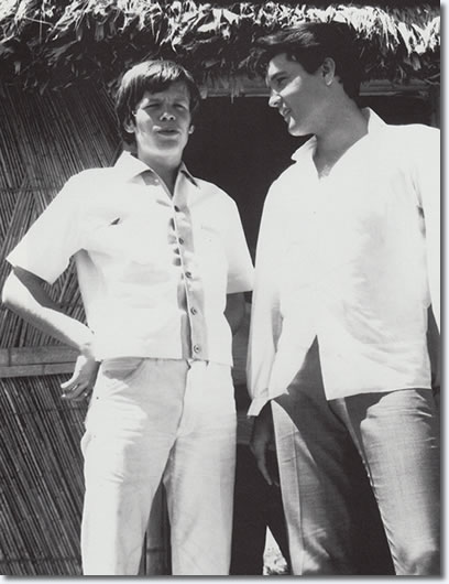 Peter Noone and Elvis Presley on the set of Paradise, Hawaiian Style -1966