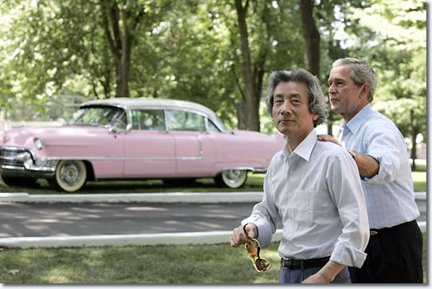 President George Bush and Junichiro Koizumi, the Prime Minister of Japan with Elvis Presley's Famous Pink Cadillac : 1955 Fleetwood Series 60.