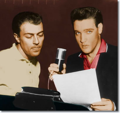 A never before seen picture of Ray Walker and Elvis Presley working on a part for the G.I. Blues soundtrack. Radio Recorders 1960.