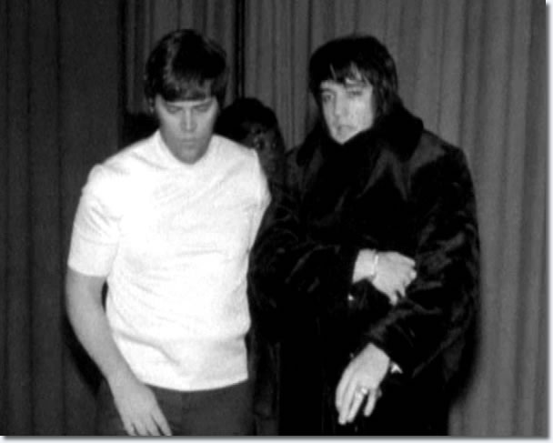 Sonny West and Elvis, backstage at the International, Las Vegas, January 1970