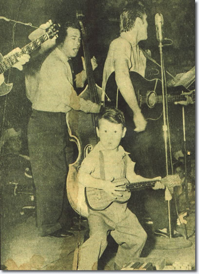 Royce Hanson, 3 1/2 year old youngster from Tyler, got onstage with his imitation of the 'Bopping Hillbilly', Elvis Presley on April 30, 1955.