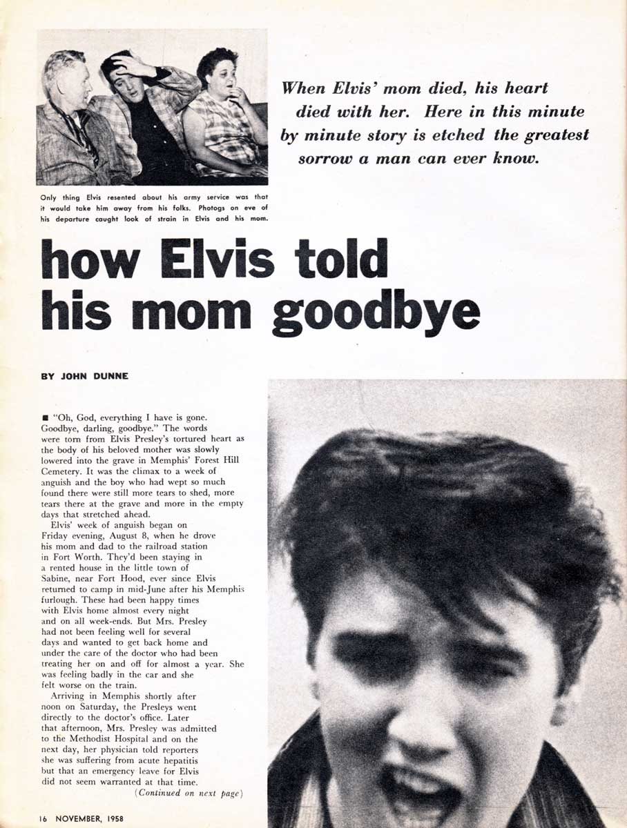 How Elvis Told His Mom Goodbye