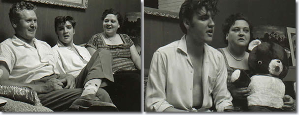 Vernon, Elvis and Gladys Presley at Audubon Drive.