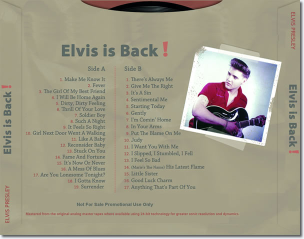 Elvis Is Back! : The Alternate Album 2 CD Set.