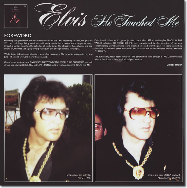 He Touched Me FTD Classic Album 2 CD : From the booklet.