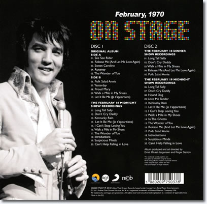 On Stage : February, 1970 : FTD 2 CD Special Edition : The Back Cover.