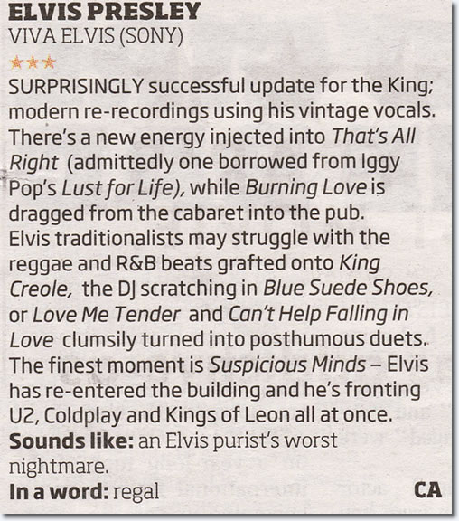 Album Review: Elvis Presley Viva Elvis The Album #2 - Melbourne Herald Sun By Cameron Adams