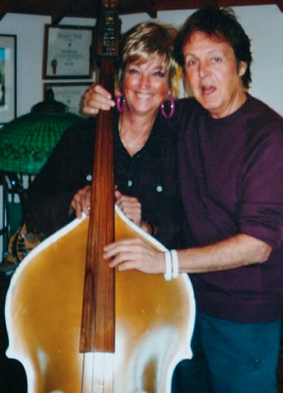Nancy Shockley and Paul McCartney with Bill Black's Bass.