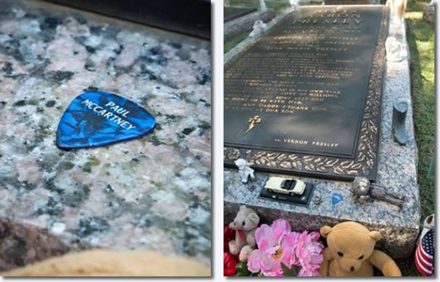 Paul McCartney's guitar pick to the side of Elvis' grave