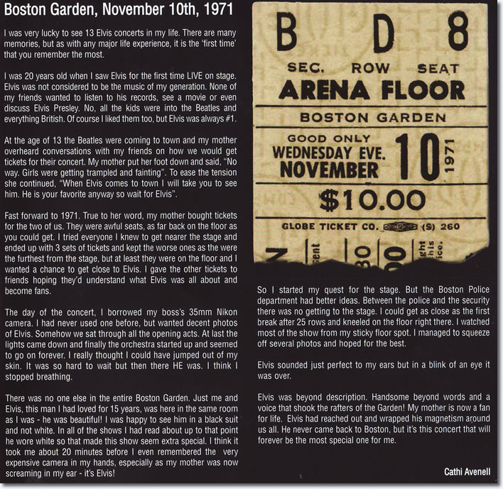 Elvis As Recorded At Boston Garden '71 FTD CD liner notes