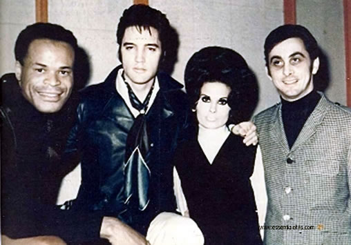 Roy Hamilton joins Elvis with George Klein and girlfriend Barbara Little at American Sound Studios in January 1969.