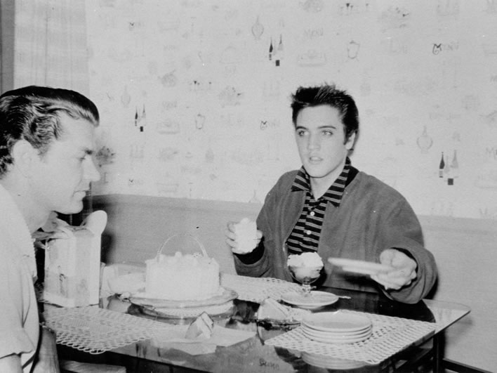 Sam Phillips and Elvis Presley.