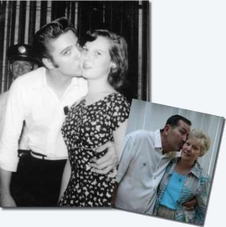 Dalton Bray duplicates in 2011 the kiss wife, Kathy Bray, received from Elvis Presley in 1956.