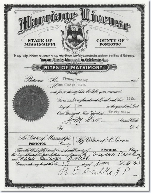 Vernon and Gladys Presley Marriage License.