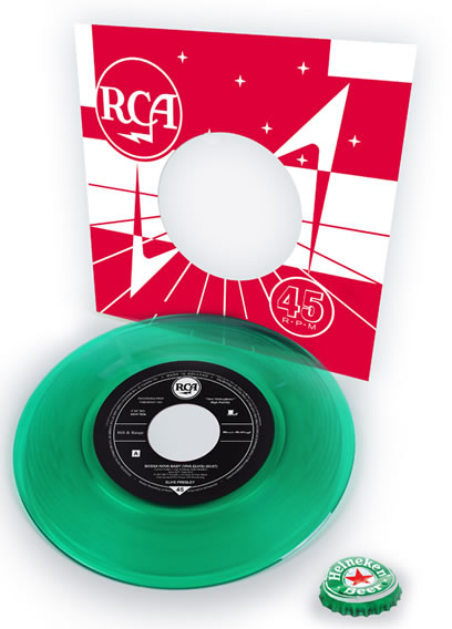 "Heineken 'Bossa Nova Baby' beer bottle green 7"" 45 RPM vinyl single"