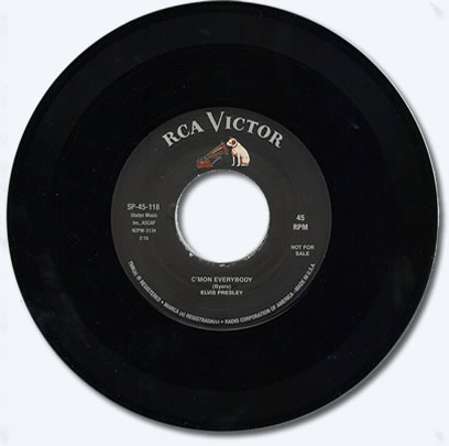 C'mon Everybody / King Of The Whole Wide World 'Not For Sale' 45 RPM Vinyl Single.