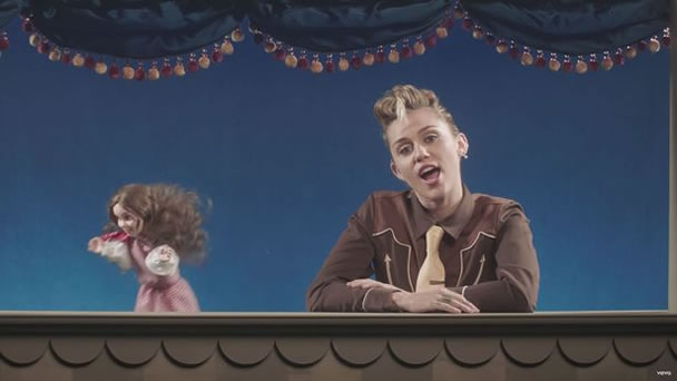 Miley Cyrus from the 'Younger Now' music video/