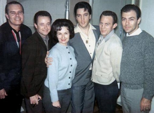 Millie Kirkham with The Jordanaires and Elvis Presley.