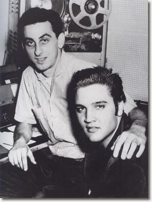 Elvis and George Klein at WMC Radio in 1956