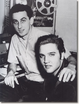 Elvis and George Klein at WMC Radio in 1956