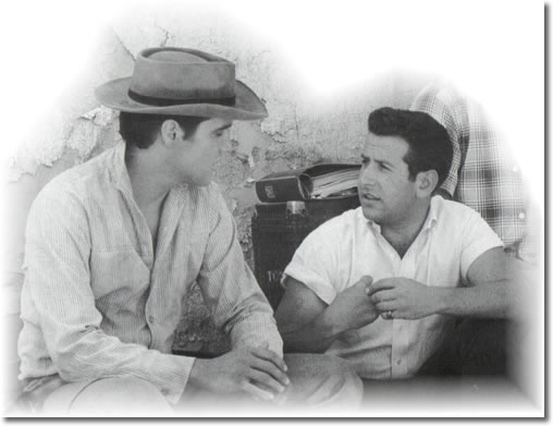 Elvis Presley & Joe Esposito during filming of Flaming Star