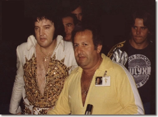 Joe Esposito and Elvis in one of his last tours, 1977