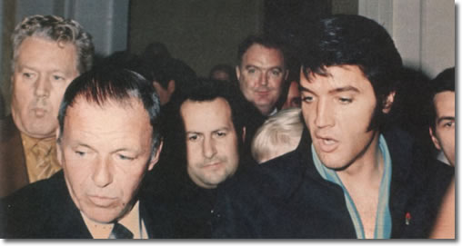 Frank Sinatra, Elvis Presley with Joe Esposito and Vernon Presley in background