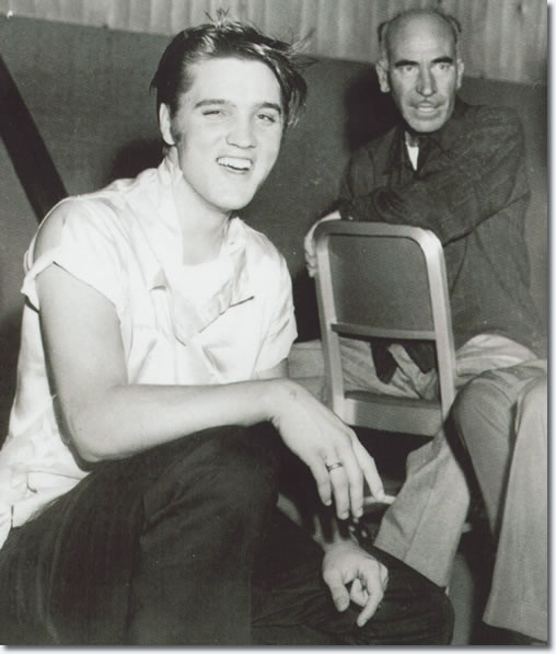 Elvis Presley on the set of 'Love Me Tender'. From the book, Inside Love Me Tender
